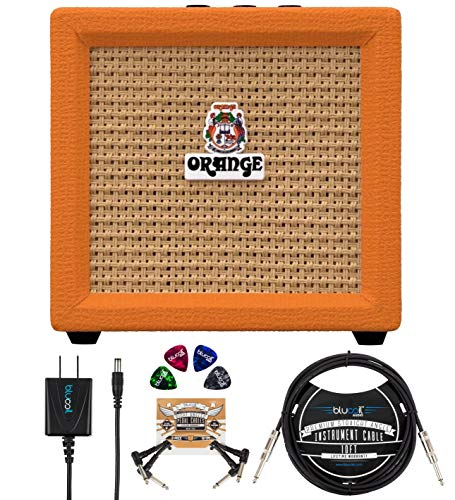 """Orange Amps Crush Mini 3W Guitar Combo Amplifier Bundle with Blucoil Slim 9V Power Supply AC Adapter, 10' Straight Instrument Cable (1/4""""), 2-Pack of Pedal Patch Cables, and 4x Guitar Picks"""