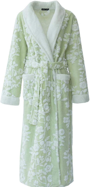 YUNHAO Bathrobe Autumn and Winter New Flannel Thickening Long Jacquard Robe Coral Fleece Bathrobe A (color   Green Female, Size   M)