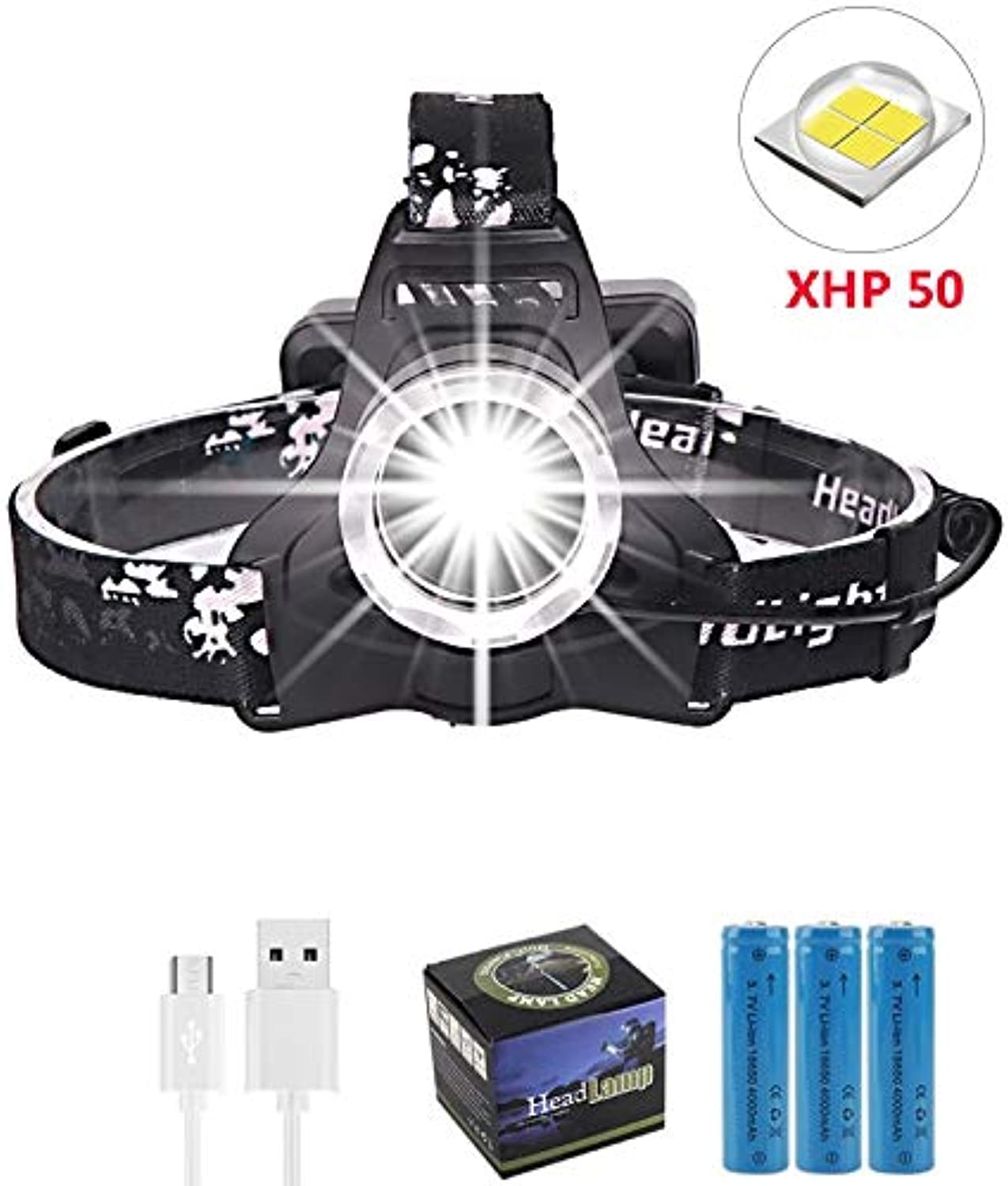 (2019 Newest ) Super Bright XPH50 LED Headlamp Rechargeable Head Flashlight 3 Modes Zoomable Waterproof LED Headlight with Battery and USB Charger,Support Power Output