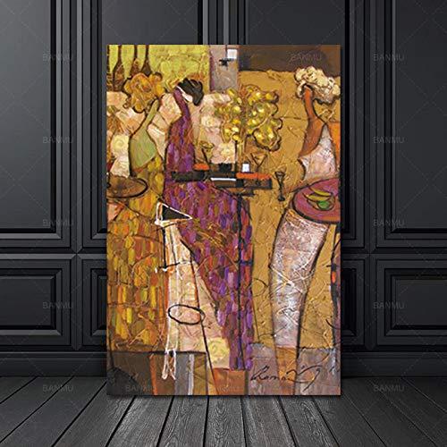 SADHAF Abstract canvas tekening karakter Scandinavisch abstracte hoop muurkunst schilderij woonkamer canvas schilderij decoratie 30x40cm (kein Rahmen) A1.