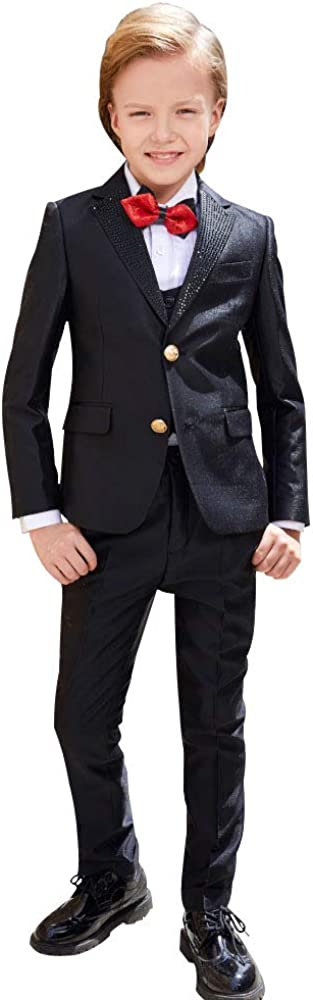ELPA ELPA Boy Suit Elegant Slim Fit Formal Dress Suit for Wedding Holiday Party,Black Suit and White Suit 2-20