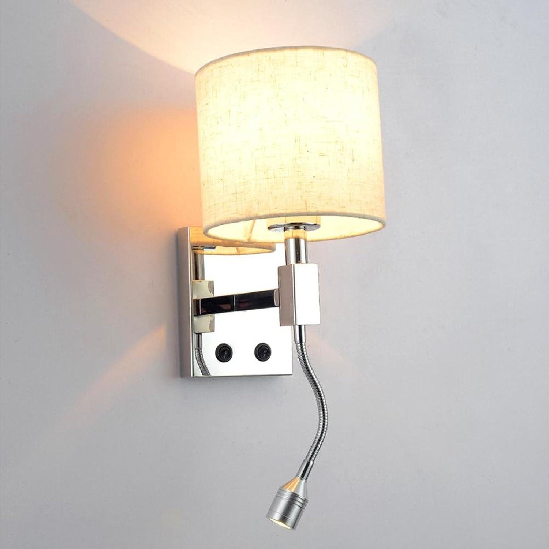 OOFWY LED E14 Home Dekorative Lampen Moderne kreative Stil für Hotel Cafe Schlafzimmer Wohnzimmer Esszimmer Dekoration Edelstahl Leinen Wand Tischlampe, B