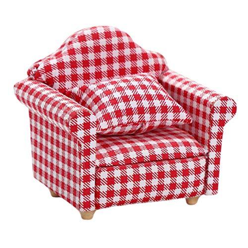 kowaku 1:12 Escala Sofá Casa de Muñecas Miniaturas Muebles Sillón de Rayas Rojas Y Blancas