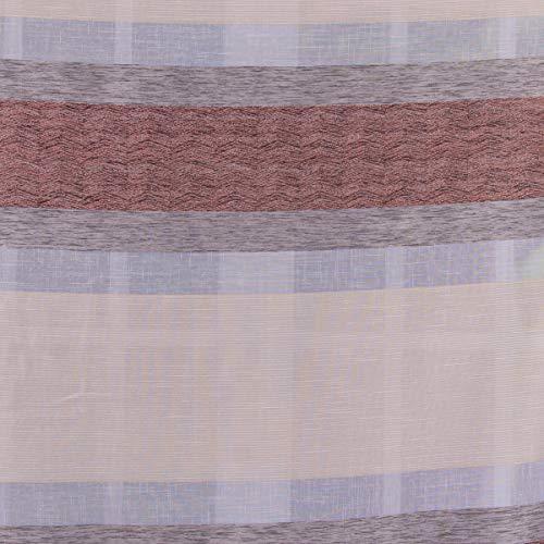SCHÖNER LEBEN. Gardinenstoff Dekostoff Querstreifen Leinenoptik meliert grau beige rotbraun 1,50m Breite