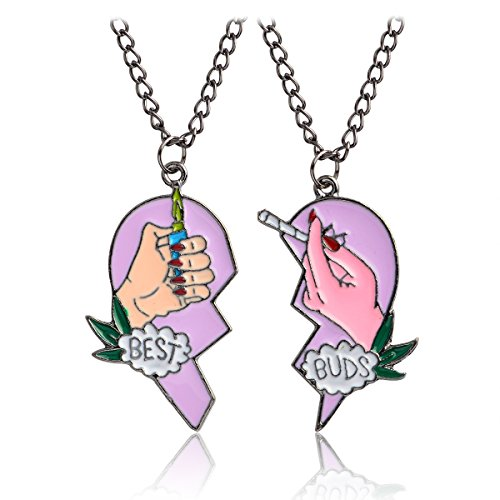 """QIHOO Best Friend Necklaces Matching Heart Pendant Necklaces Cute Friendship """"Best Buds"""" BFF Necklaces for 2 Girls (GM Pink)"""