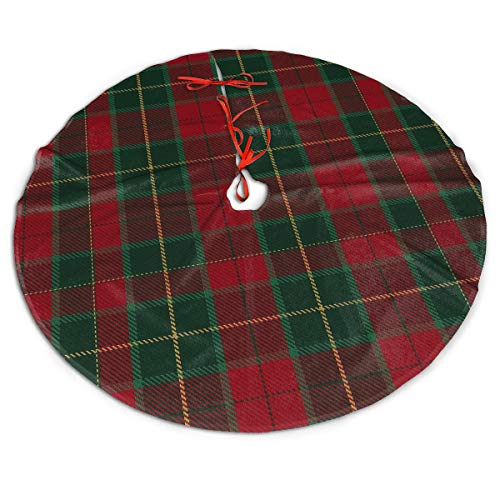 MSGUIDE Christmas Tree Skirt 48 Inch Buffalo Plaid Red Green Gold Xmas Holiday Party Supplies Large Tree Mat Decor for Indoor Outdoor Home Ornaments