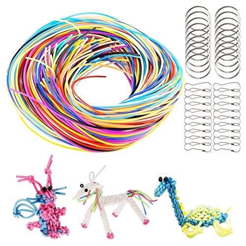 Zuzer 200 Stück Scoubidou Bastelset Scoubidou Strings Craft Cord Plastik Bänder Streifen mit Schlüsselring Ring und Haken,DIY Handmade Craft Gimp Schnürung Cord für Schmuckherstellung,20 Farben