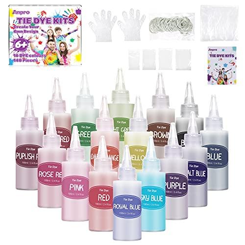 Anpro Tie Dye Kit, 148 batikfarben Set, 16 Bunte Tie-Dye-Textilfarbstoffe, Stoff Textil Farben Tie Dye Kit Kunsthandwerk für Kinder und Erwachsene Fashion DIY