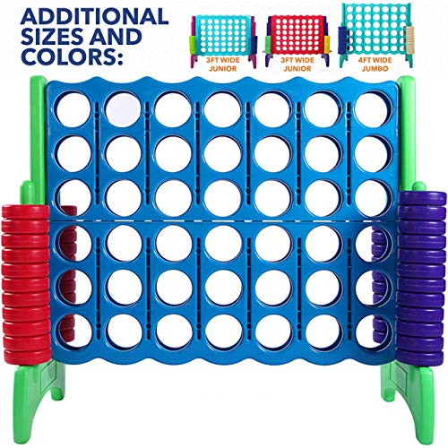 Giant 4 in A Row, 4 to Score - Premium Plastic Four Connect Game JUMBO 4 Foot Width Set with 44 Rings by Rally & Roar – Oversized Fun Family, Indoor/Outdoor Games