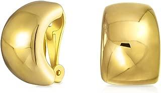 Plain Huggie Shrimp Half Hoop Clip On Earrings For Women Non Pierced Ears Polished Silver Tone Or Gold Plated Brass