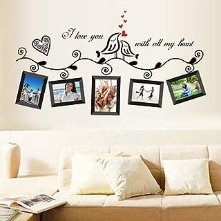 CHicoco Love Birds Photo Frame Art Wall Stickers Decal Romantic Wedding Room Vitrine Decor,DIY Photo Gallery Frame Decor Sticker,Bedroom Stencil Decoration
