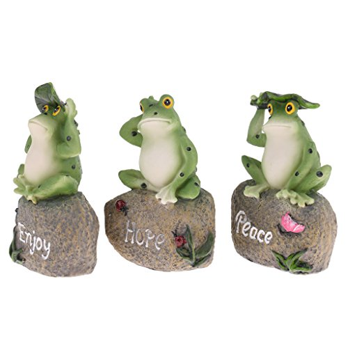 Handmade 3 Frogs Sculpture Set Realistic Animal Model Statue Home Garden Lawn Party Decor Ornaments
