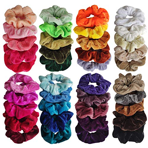 40 Colores Scrunchie, Goma de Pelo Lazo para scrunchies terciopelo de Velvet Elástico Hair Scrunchies, Stretchy Multicolor, Scrunchies Velvet Elástico Bandas Para Mujeres Niñas Accesorios JAANY