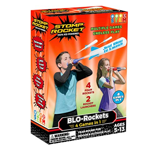 Stomp Rocket The Original New BLO-Rockets - Includes 2 Launchers, 4 Rockets - Rocket Toy Gift for Boys and Girls Ages 5 (6, 7, 8) and Up - Great for Year Round Play