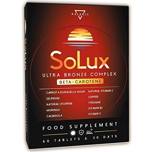 SOLUX® | Beta Carotin | Carotin Kapseln Hochdosiert | 100% NATÜRLICHE Carotinoide aus Karottenextrakt und Dunaliella-Algen | 60 Bräunungskapseln mit Lycopin, Tyrosin, Calendula und Moringa Oleifera