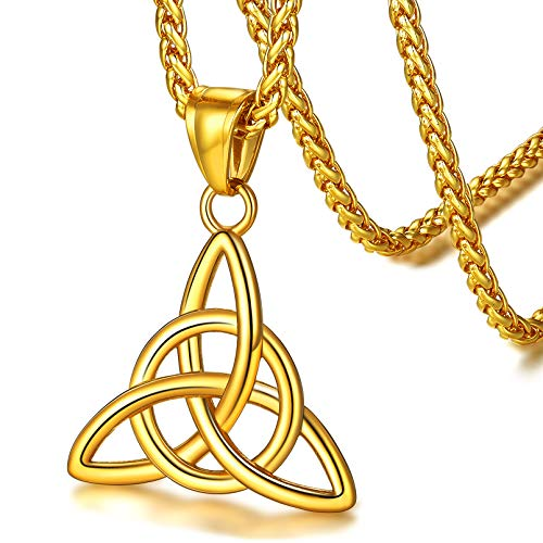 FaithHeart Irish Jewelry Celtic Knot Necklace Gold Plated Trinity Pendant with 22 Inch Spiga Chain Necklaces Norse Viking Wicca Amulet Accessories