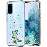 Unov Galaxy S20 Case Clear with Design Soft TPU Shock Absorption Slim Embossed Pattern Protective Back Cover for Samsung Galaxy S20 5G 6.2in (Rainbow Dinosaur)