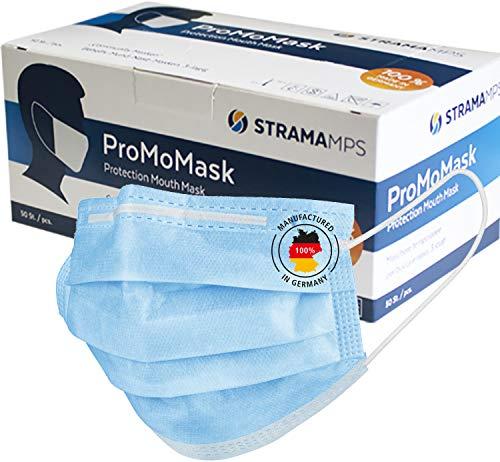 ProMoMask, 100% Made in Germany, 50 Stück Mund-Nasen-Masken, Community Maske, 3-lagige PP-Vlies, Einwegmasken