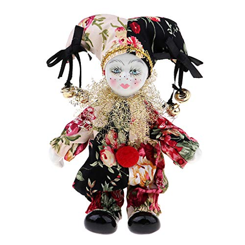 SM SunniMix Muñeca de Payaso de Porcelana Roja, Figuras Dulces de Triangel, Modelo de Regalo de Festival, Estantería de Oficina en Casa, Decoración de Exhibición