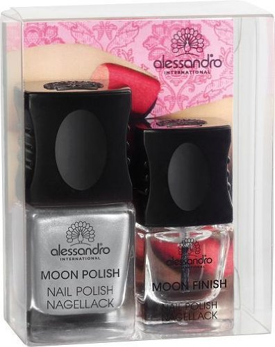 Alessandro Go Magic! MOON Manicure Set Dramatic Silver-Red Nagellack Nail Polish Inhalt: Moon Polish Nail Polish Special Effecktlack (Grau / Rot) Inhalt: 10ml, 3 x Schablonen und Top Coat (Transparent) Inhalt: 5ml. Nagellack - Set