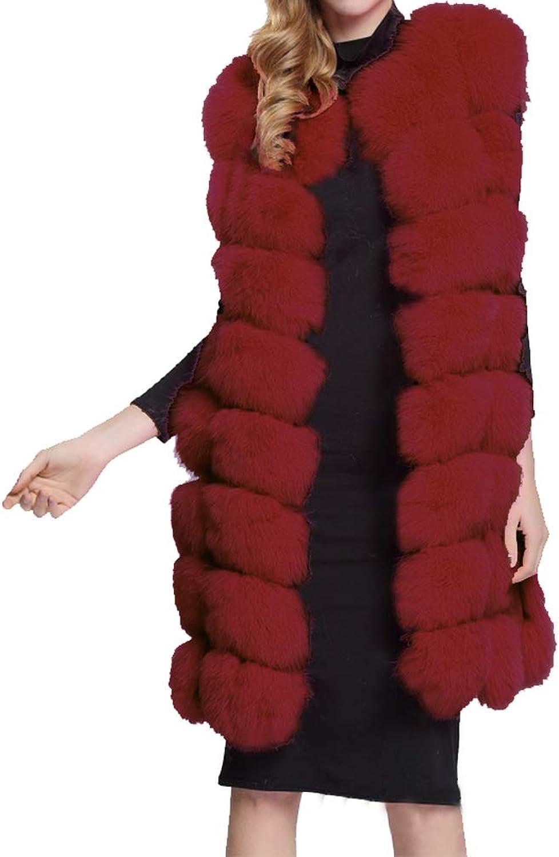 YUhe2018Cw Yu He Women's Faux Fox Fur Vest Long Fur Jacket Warm Faux Fur Coat Outwear Wine Red