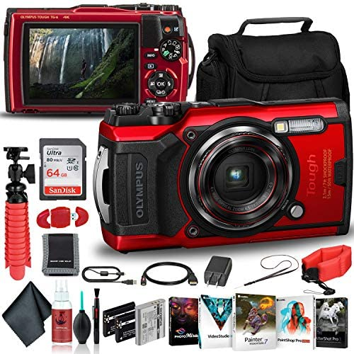 Olympus Tough TG-6 Waterproof Camera (Red) – Adventure Bundle – with 2 Extra Batteries + Float Strap + Sandisk 64GB Ultra Memory Card + Padded Case + Flex Tripod + Photo Software Suite + More