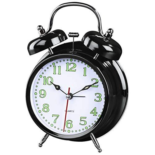 Hama analoger Wecker inkl. Batterie (batteriebetriebene Retrouhr mit Alarmfunktion, Glockenwecker mit Licht, fluoreszierender Stunden- und Minutenzeiger, 12,5 x 6,5 x 17 cm) schwarz, weiß