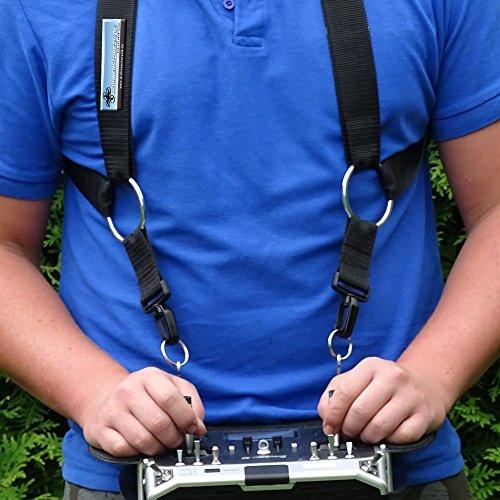 AHLtec Verstellbarer Komfort Kreuzgurt Senderpulte - Schwarz - zum Beispiel für Yuneec ST16 ST16S ST24 / Mavic Senderpult - Profi Zubehör