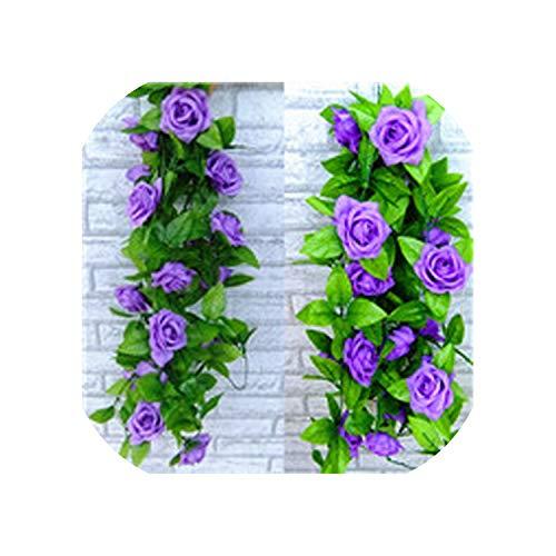 Yeaha Kerst-slingers 2.4M Kunstmatige Nep Zijde Rose Bloem Ivy Wijnstok Opknoping Bloem Garland voor Bruiloft Decoratie Party Home Decor,Rose Roze, size1 size1 Paars