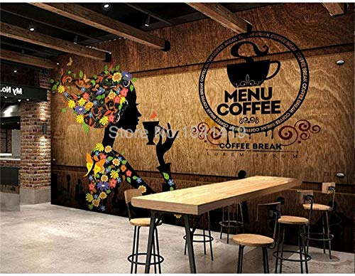 ZGHONG Fotobehang 3D Retro Koffie Winkel Figuur Bloemen Muren Moderne Creatieve Restaurant Café Achtergrond Muurdecoratie Papel De Parede 400x280 cm (157.5 by 110.2 in ) 400x280 Cm (157.5 Door 110.2 in )