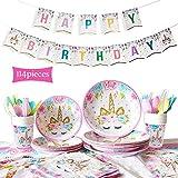 114 Piezas Vajilla Desechable Cumpleaños Unicornio, Unicornio Artículos de Fiesta Unicornio Accesorio de Decoración de Fiesta de Cumpleaños -Servir 16 Invitados