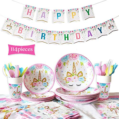 Funmo 114 Pcs Gebutstag Party-Set, Gebutstag Party Set Einhorn Party Zubehör Party Geschenk Set...