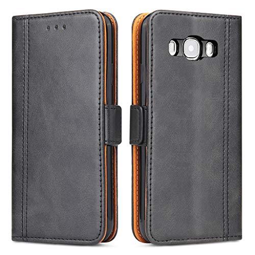 Bozon Galaxy J7 2016 Hülle, Leder Tasche Handyhülle für Samsung Galaxy J7 (2016) Schutzhülle Flip Wallet mit Ständer und Kartenfächer/Magnetverschluss (Schwarz)