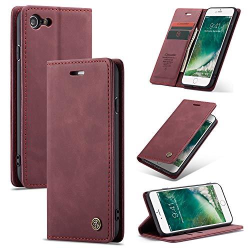 AKC Funda Compatible para iPhone 6 Plus Carcasa con Flip Case Cover Cuero Magnético Plegable Carter Soporte Prueba de Golpes Caso-Vino Rojo