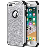 Hython Designed for iPhone 8 Plus, iPhone 7 Plus Case, Heavy Duty Defender Protective Bling Glitter Sparkle Hard Shell Hybrid Shockproof Rubber Bumper Cover for iPhone 7 Plus and 8 Plus, Silver