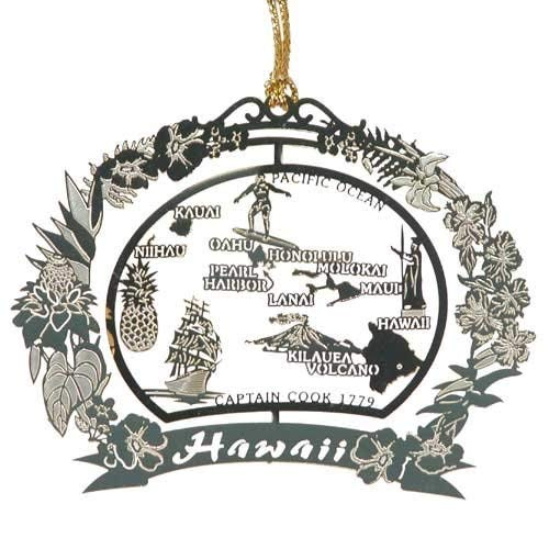 Hawaii Brass Christmas Ornament Black Leatherette Gift Box