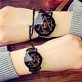 ETH Reloj Casual Mujer Estudiante Simple Retro Reloj De Los Hombres Pareja Reloj De Cuarzo Par Precisión (Color : Black)