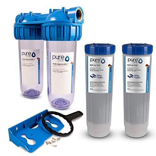 PureOne SMS2 Schwermetall-Set. 2-Stufige Filteranlage 10 Zoll. Schwermetallreduktion, Schadstoffe und Geschmack. Filtergehäuse mit zwei KDF-Aktivkohle Kombikartuschen. Hauwasser, Zisterne 3/4 Zoll