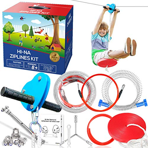 Hi-Na 100ft Zipline for Backyard for Kids Zipline Kits for Backyard with Brake Backyard Zipline Kit with Seat Zipline with Trolley Zipline Kits for Backyard Zipline Kit Zip Line Kit