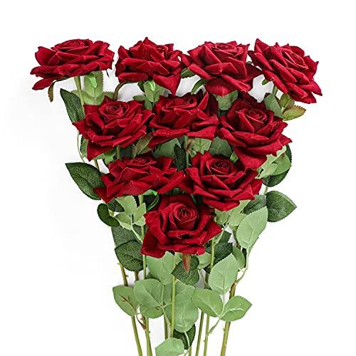 JUSTOYOU 12 STK Künstliche Blumen Rosen Samtblumen Gefälschter Langer Stiel Künstliche Rosen Blumen Blumenstrauß für Hochzeitsdekorationen (Dunkelrot)