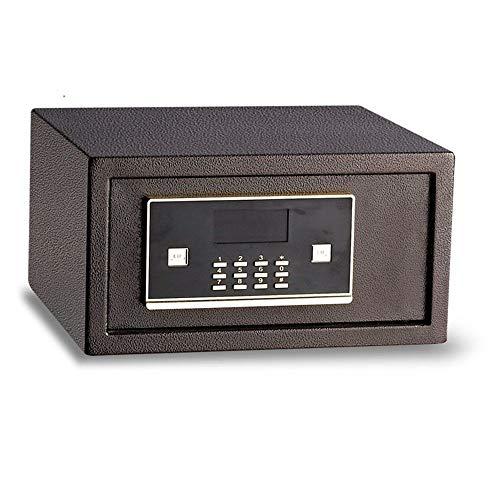 Jtoony Safe Box für Hotel/Büro, Diebstahlsicherung, Mini-Tresor, Nachttisch, Schrank, 19,5 cm hoch, Stahl, braun, 19.5x43x37cm
