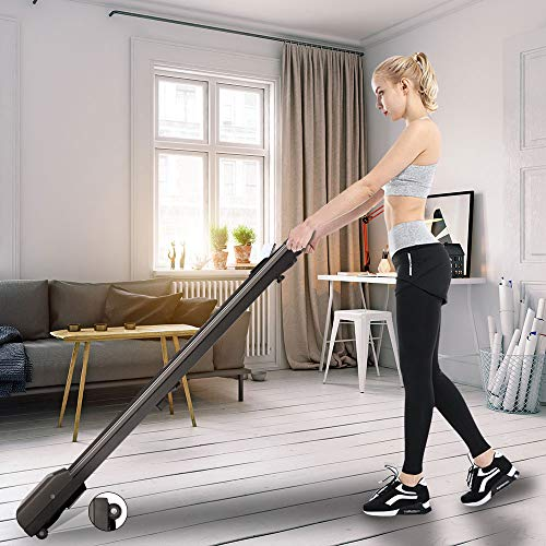 Bigzzia Motorised Treadmill, Under Desk Treadmill Portable Walking Running Pad Flat Slim Machine with Remote Control and LCD Display for Home Office Gym Use, Installation-Free (Irongrey)