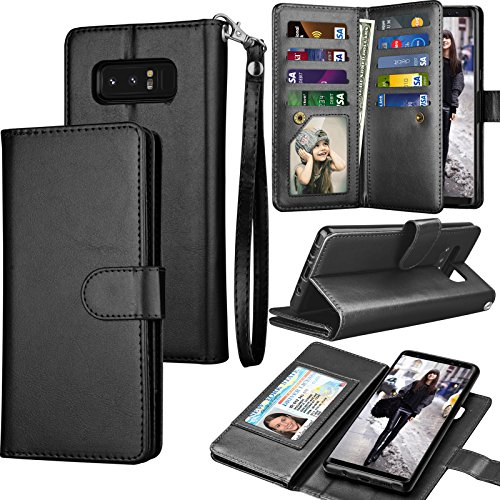 Tekcoo Compatible for Galaxy Note 8 Wallet Case/Samsung Galaxy Note 8 PU Leather Case, Luxury ID Cash Credit Card Slots Holder Carrying Flip Cover [Detachable Magnetic Hard Case] Kickstand - Black