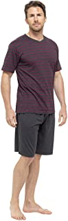 Mens/Gentlemens Nightwear/Sleepwear Striped Short Sleeve T-Shirt & Shorts Pyjama Set, Red XX Large