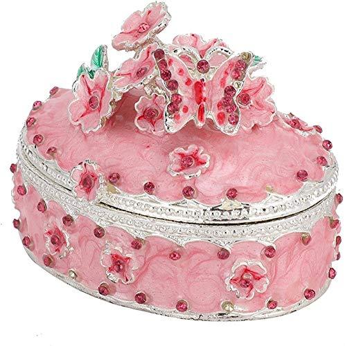 KEEBON Exquisito decoración del hogar Ornamento Cherry Blossoms Jewelry Box, artesanía Regalos Rosados para Chicas Amigos en casa
