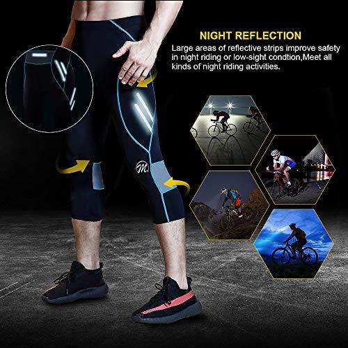 MEETWEE Herren 3/4 Radhose Fahrradhose, Kompression Radlerhose Leggings Radsport Hose für Männer Elastische Atmungsaktive 3D Schwamm Sitzpolster - 3
