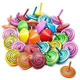 Vordas 30 Piezas Peonza de Madera de Colores, Regalos y Detalles para Comuniones, Niños, Niñas, Fiestas de Cumpleaños (Colores Aleatorios)
