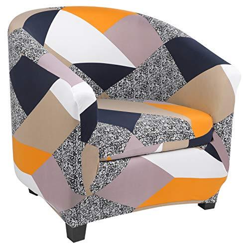 papasgix Chesterfield - Funda elástica para sillón de cóctel con 1 funda para sillón Club de 1 plaza, lavable, antideslizante, para salón, recepción, geométrica naranja