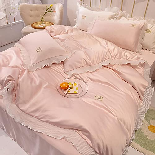 Bedding-LZ super King bettwäsche Set,Waschen Die Seide ist Eisseide, vierköpfige Sommerbettwäsche-B_150 cm Bett (4 Stück) - Geeignet für 200x230 cm Kern