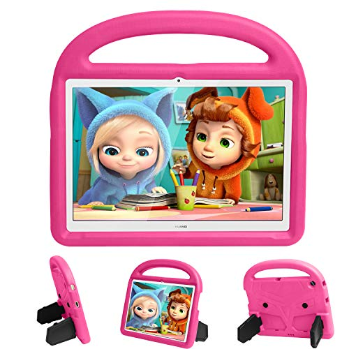 Tading Kids Case Compatible with Huawei MediaPad T3 10, Children Friendly Soft EVA Foam Shockproof Light Weight Handle Stand Protective Cover for Huawei MediaPad T3 10 9.6 Inch 2017 Tablet - Hot Pink